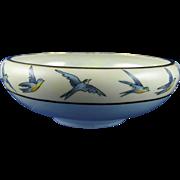 "Uno Favorite Bavaria Bluebird Motif Bowl (Signed ""M.E. Schlechter""/c.1910-1930)"