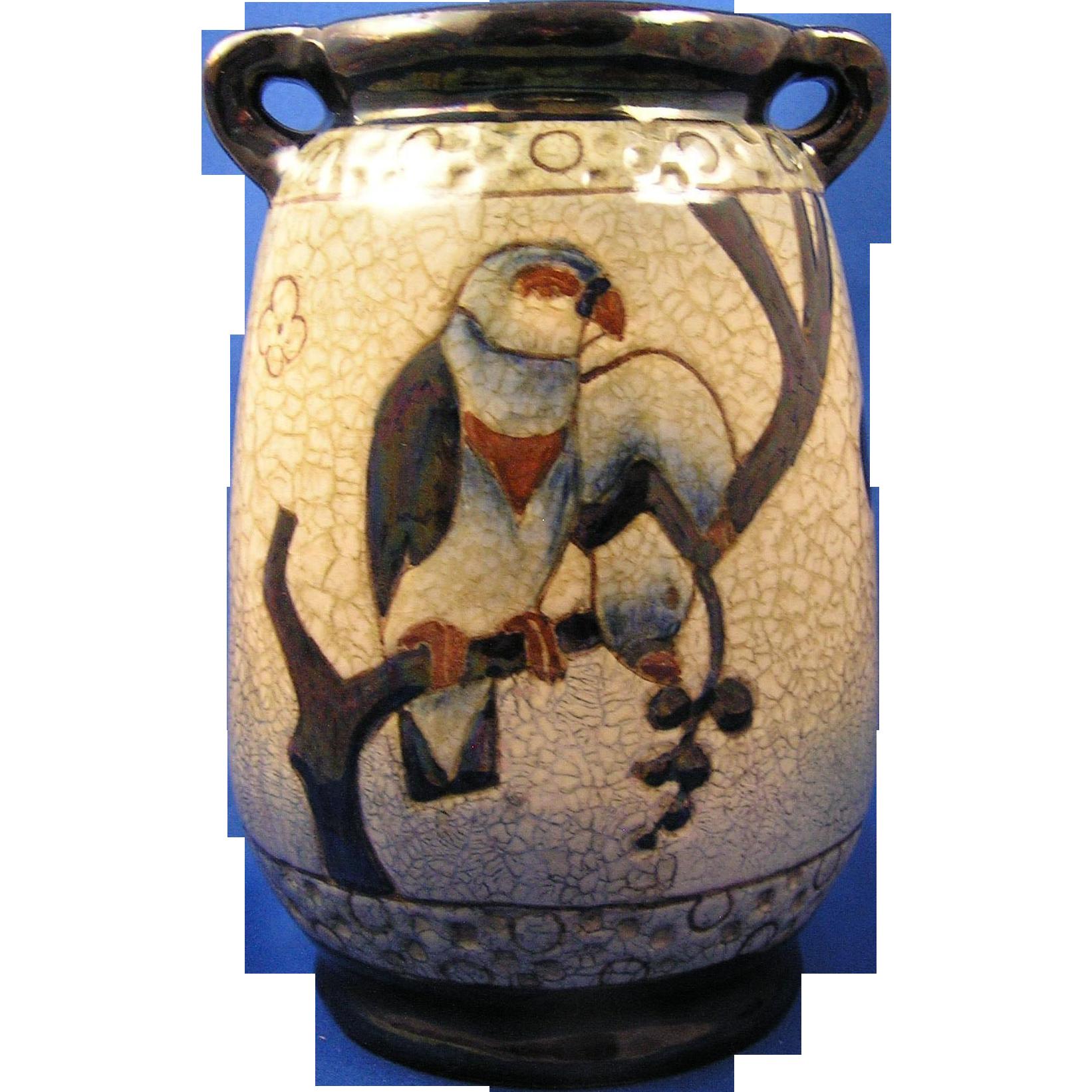 Amphora Austria Arts & Crafts Parrots Motif Vase (c.1905-1910)
