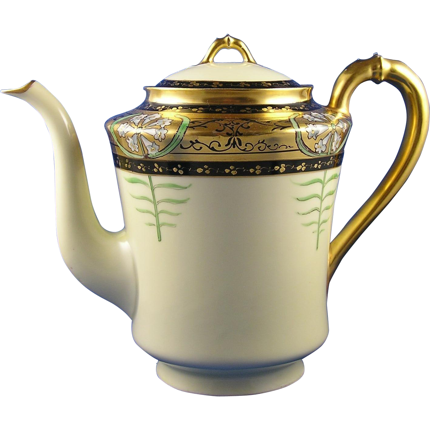 "Haviland Limoges Quality Art Studio Pickard ""Lily Palmate"" Design Coffee Pot (c.1915-1920)"