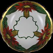 "Mavaleix (PMdeM) Limoges Pickard Studios Poinsettia Bowl (Signed ""N.R. Gifford""/c.1903-1905)"