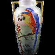 """Heinrich & Co. (H&Co.) Selb Bavaria Arts & Crafts Parrot Motif Vase (Signed """"G. Lawrence""""/c.1896-1930)"""