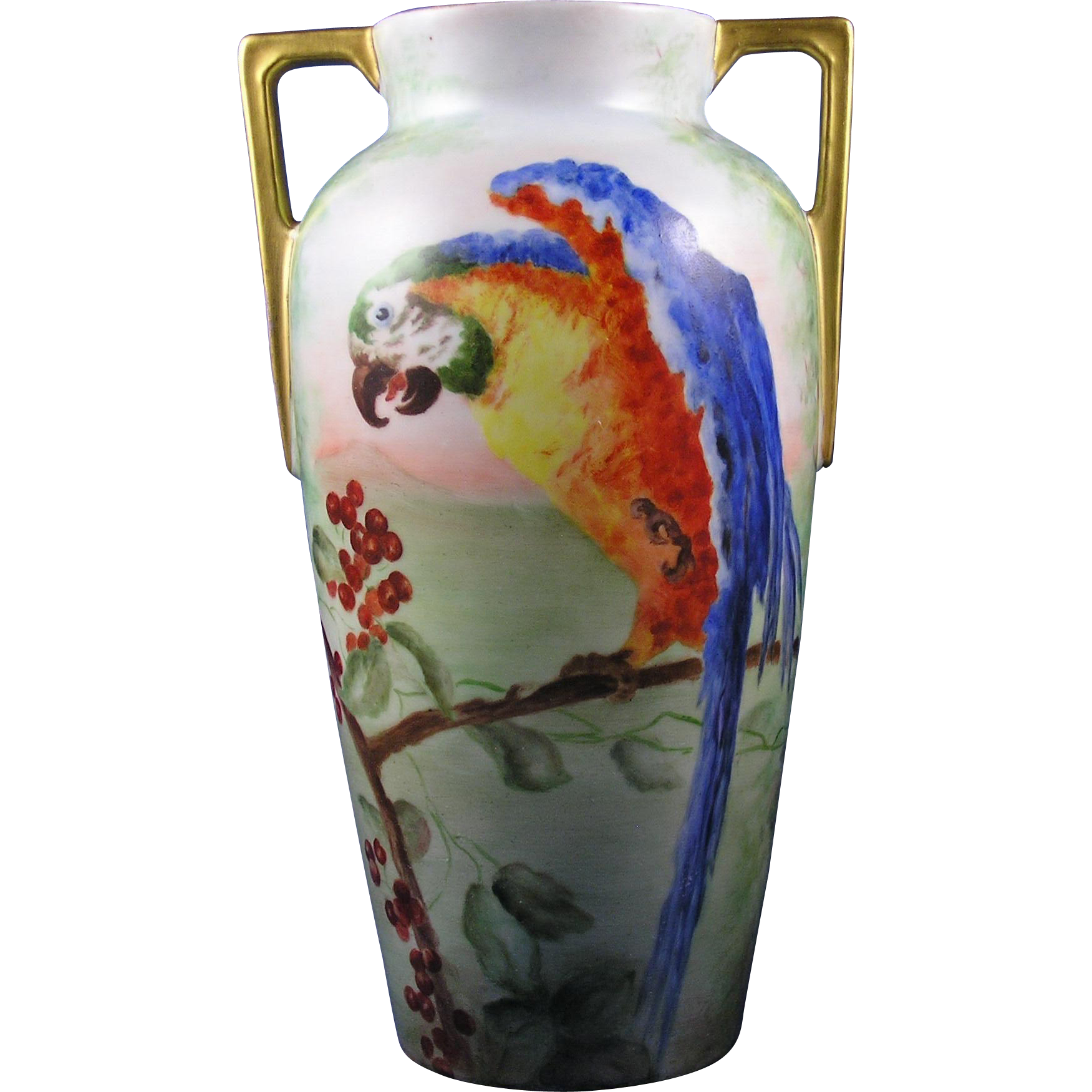 "Heinrich & Co. (H&Co.) Selb Bavaria Arts & Crafts Parrot Motif Vase (Signed ""G. Lawrence""/c.1896-1930)"