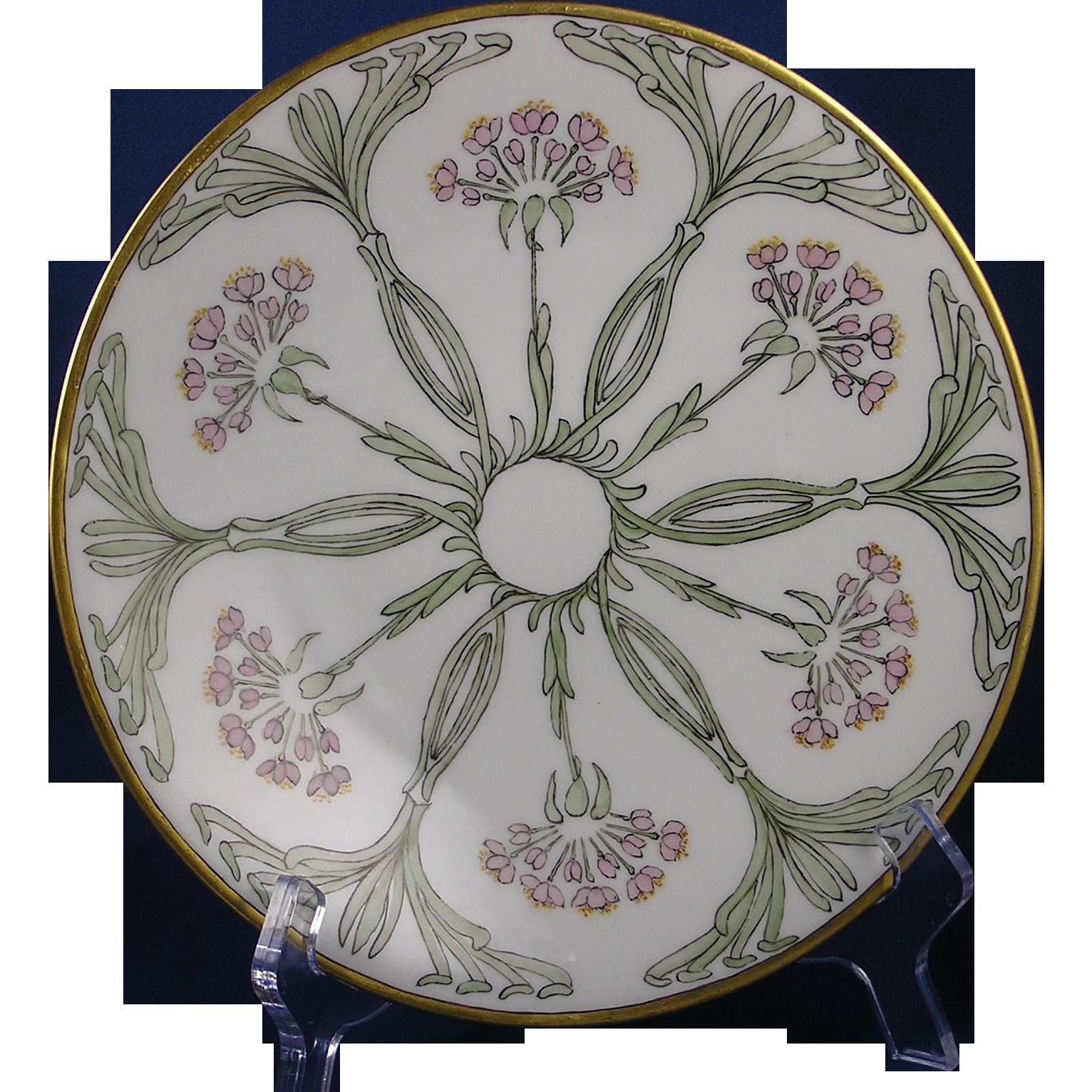 jean pouyat jp limoges arts crafts floral motif plate. Black Bedroom Furniture Sets. Home Design Ideas