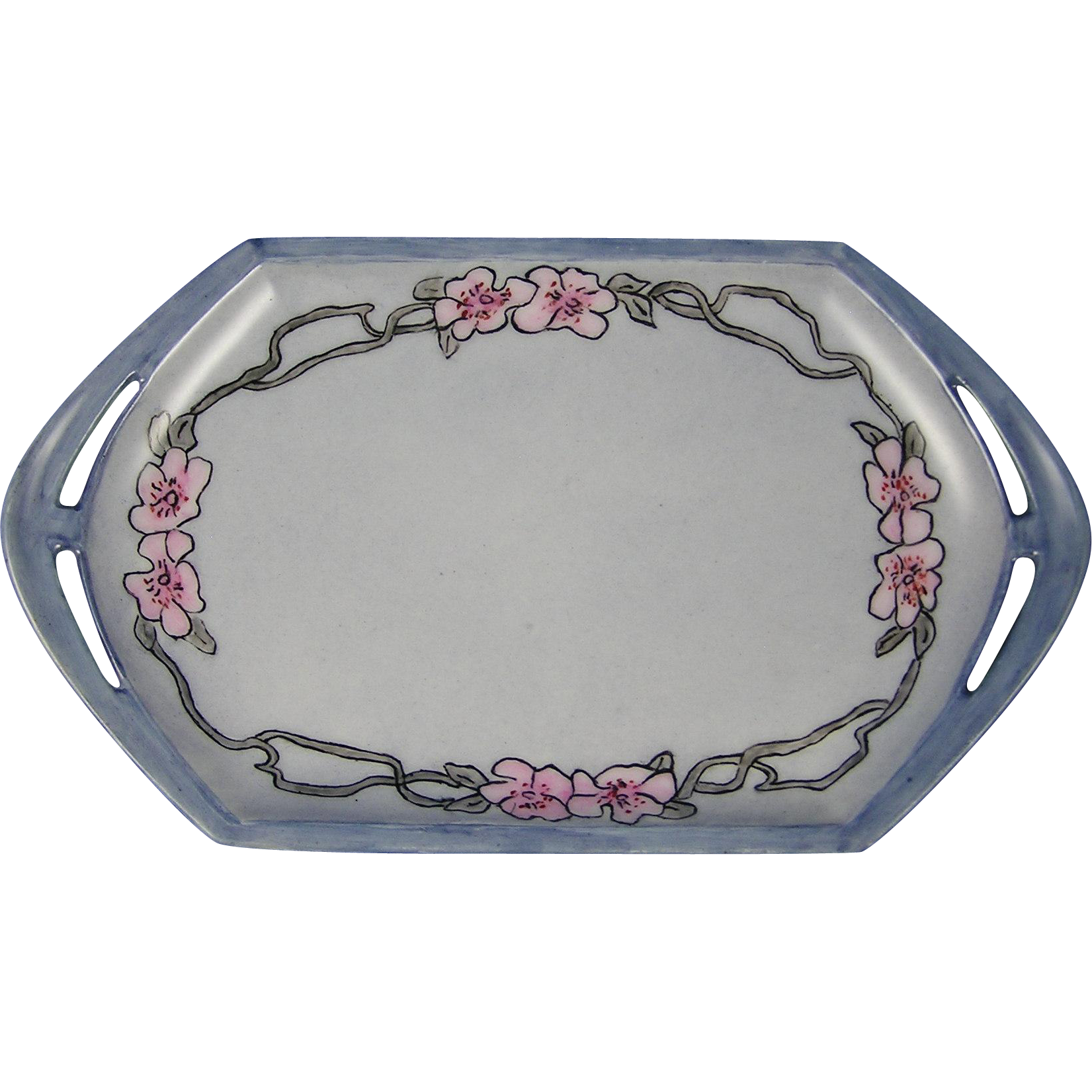 "Moritz Zdekauer (MZ) Austria Arts & Crafts Floral Design Tray (Signed ""Isabell Sloam""/c.1884-1909)"