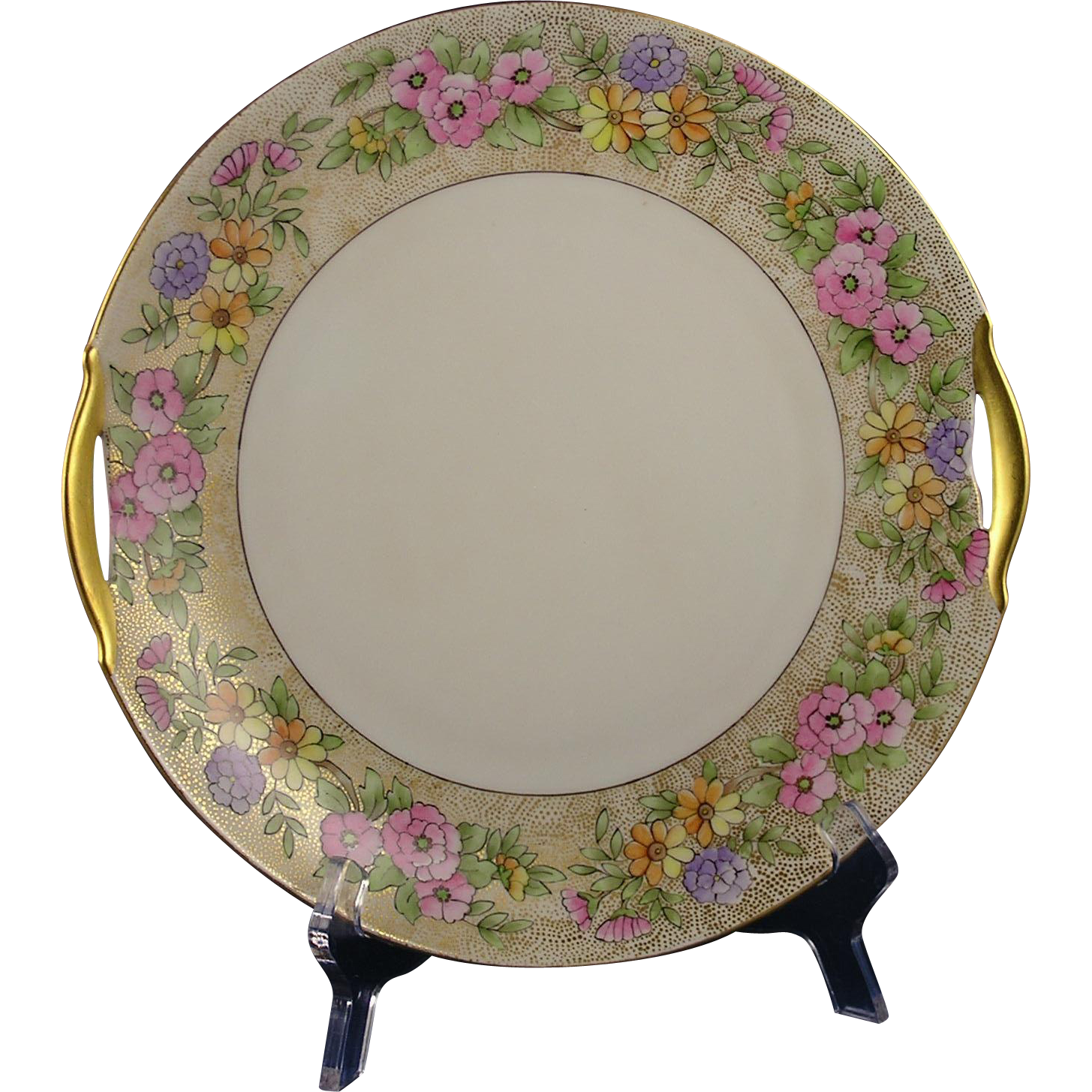 "Krister Porcelain Manufactory (KPM) Germany Arts & Crafts Floral Design Handled Plate (Signed ""L. Roberts""/Dated 1915)"