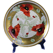 "Hutschenreuther Selb Bavaria International Art Studios Chicago Poppy Design Plate (Signed ""E. Gibson""/c.1910-1911)"