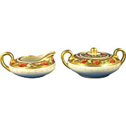 "Pickard Studios ""Tomascheko Poppy Border"" Design Creamer & Sugar Set (Signed ""a.p.""/c.1905-1910)"