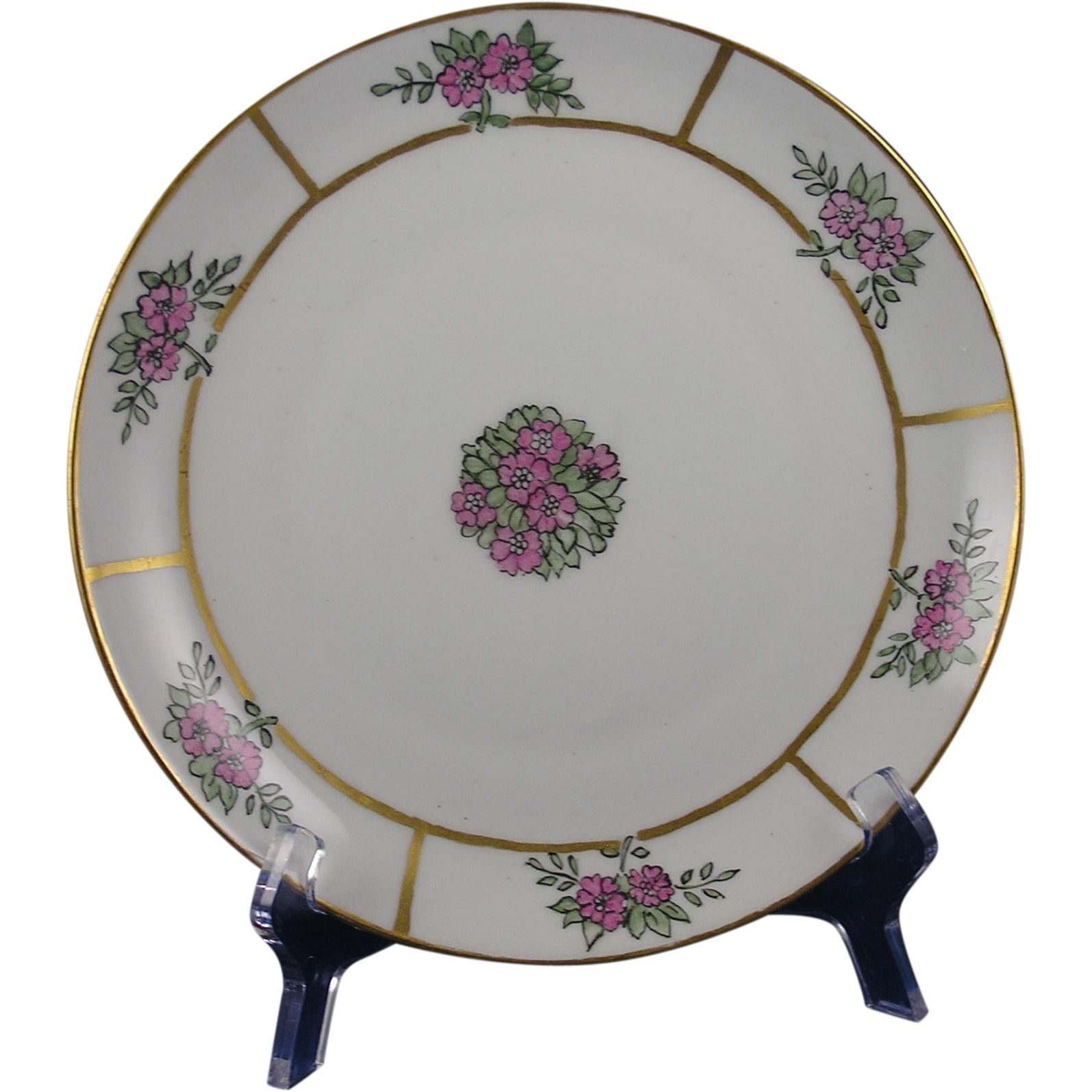 "Krister Porcelain Manufactory (KPM) Germany Arts & Crafts Floral Design Plate (Signed ""M.T.""/c.1904-1927)"