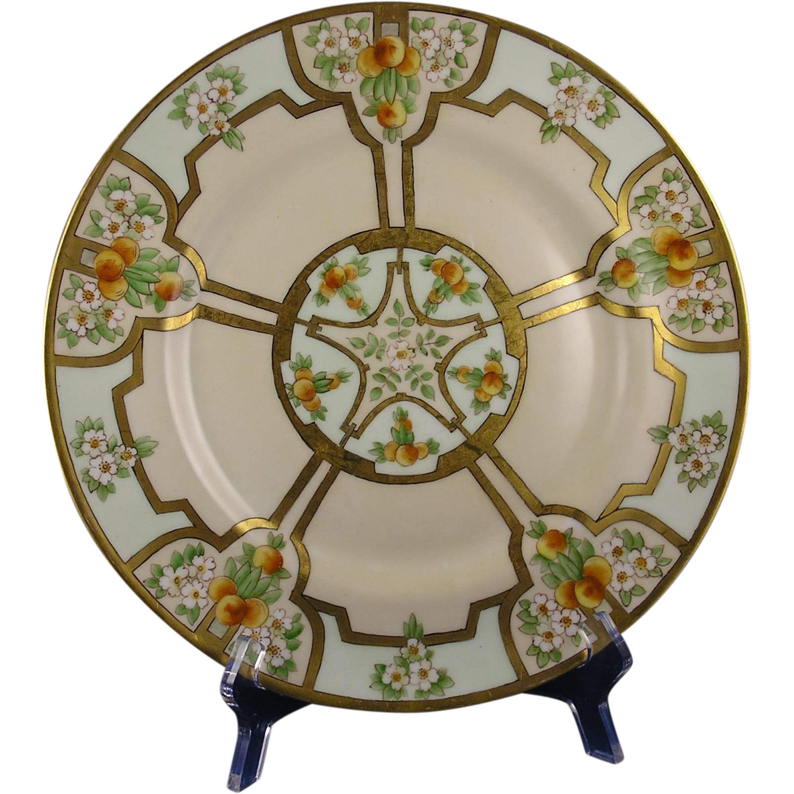Porcelain Limousine (PL) Limoges Arts & Crafts Orange Blossom & Fruit Motif Plate/Charger (Dated 1912)
