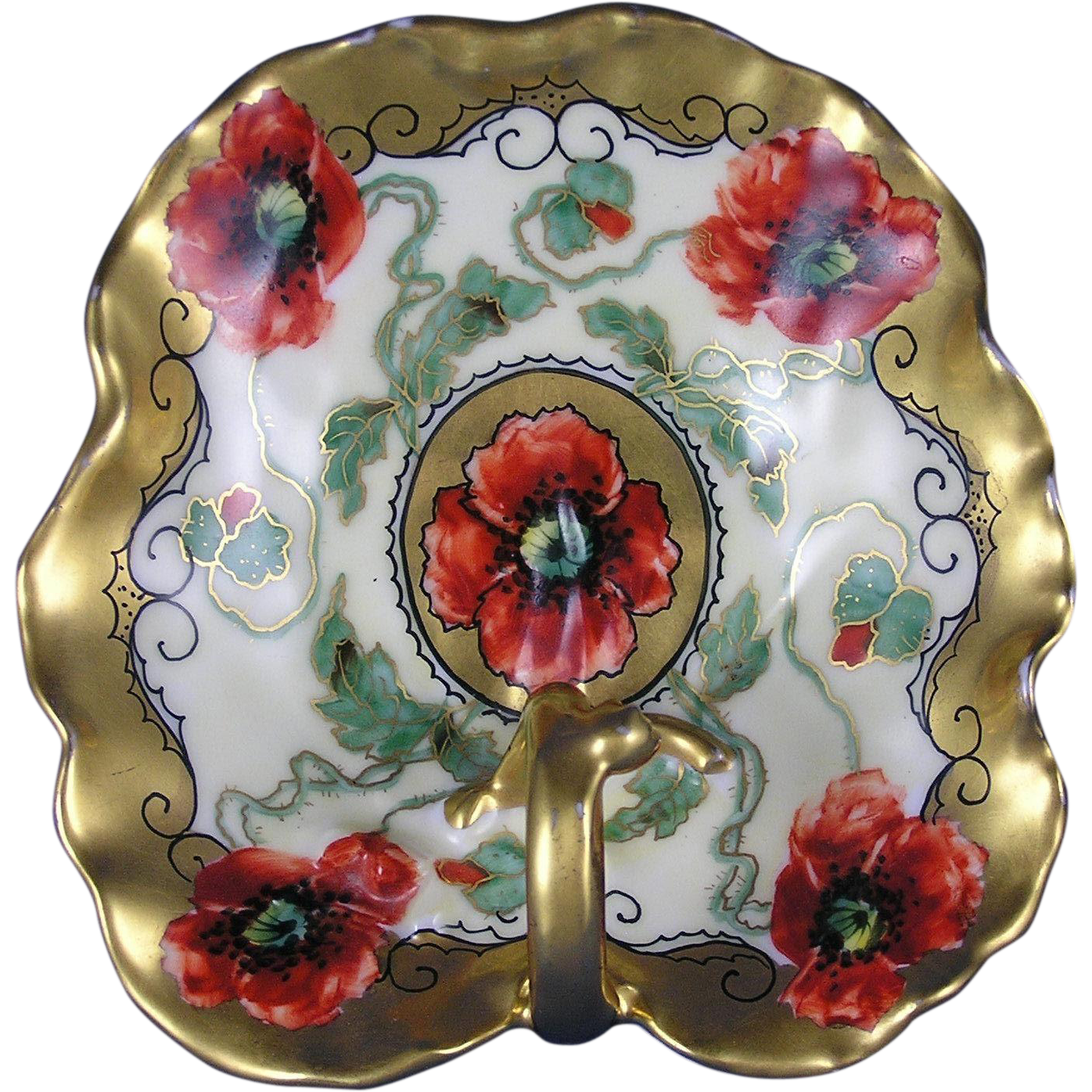 "Tressemann & Vogt (T&V) Limoges Pickard Studios Poppy Design Handled Lemon Server (Signed ""Loh"" for John Loh/c.1903-1905)"