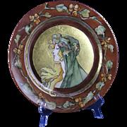 "Haviland Limoges Art Nouveau Mucha Inspired Autumn Lady Motif Plate (Signed ""Morrison""/c.1894-1931)"