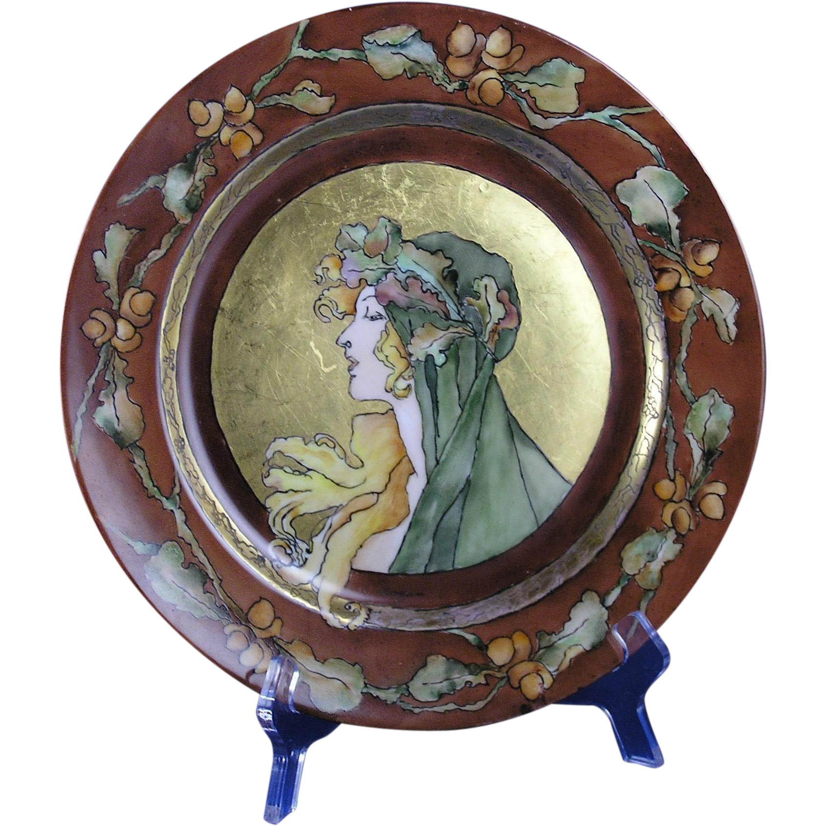 "Haviland Limoges Art Nouveau Mucha Inspired Autumn Lady Motif Plate (Signed ""Morrison""/c.1894-1931)"