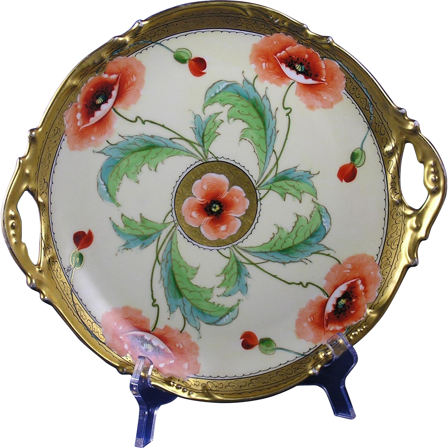 "Jean Pouyat (JP) Limoges Stouffer Studio Poppy Design Handled Plate (Signed ""A.W."" for A. Wall/c.1906-1914)"