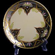 "Julius Brauer Studio Haviland Limoges Lotus Blossoms & Lustre Design Plate (Signed ""Bac"" for Max Bachmann/c.1910-1916)"
