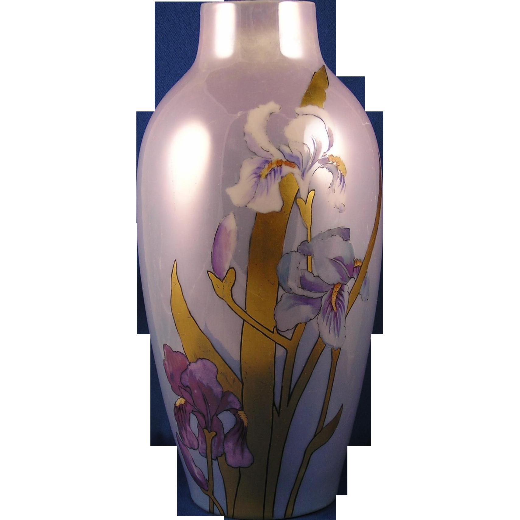 Jaeger & Co. (JC&Co.) Bavaria Iris & Gold Lustre Vase (c.1902-1930)