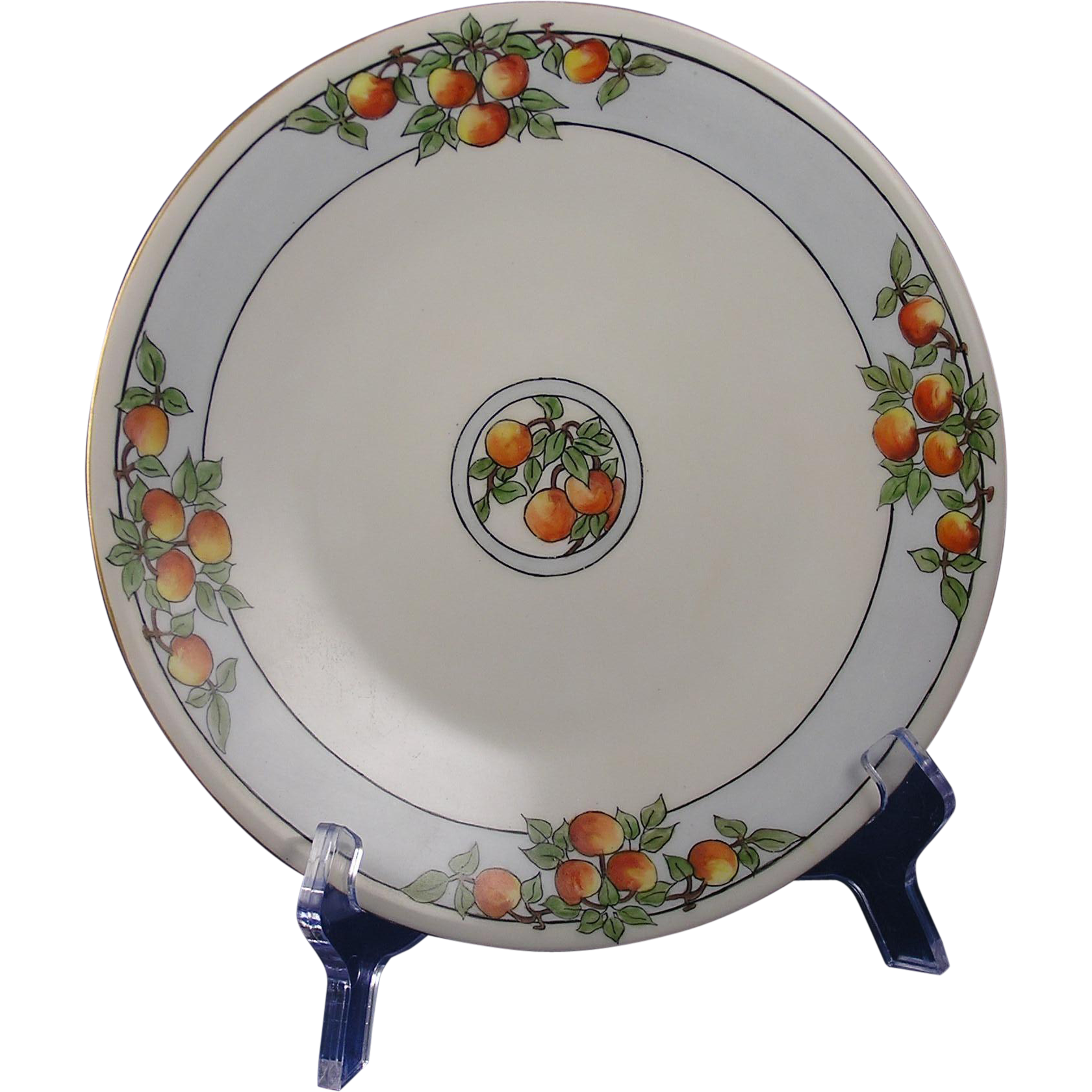 "Jean Pouyat (JP) Limoges Citrus/Fruit Design Plate (Signed ""F. Tennant""/c.1890-1932)"
