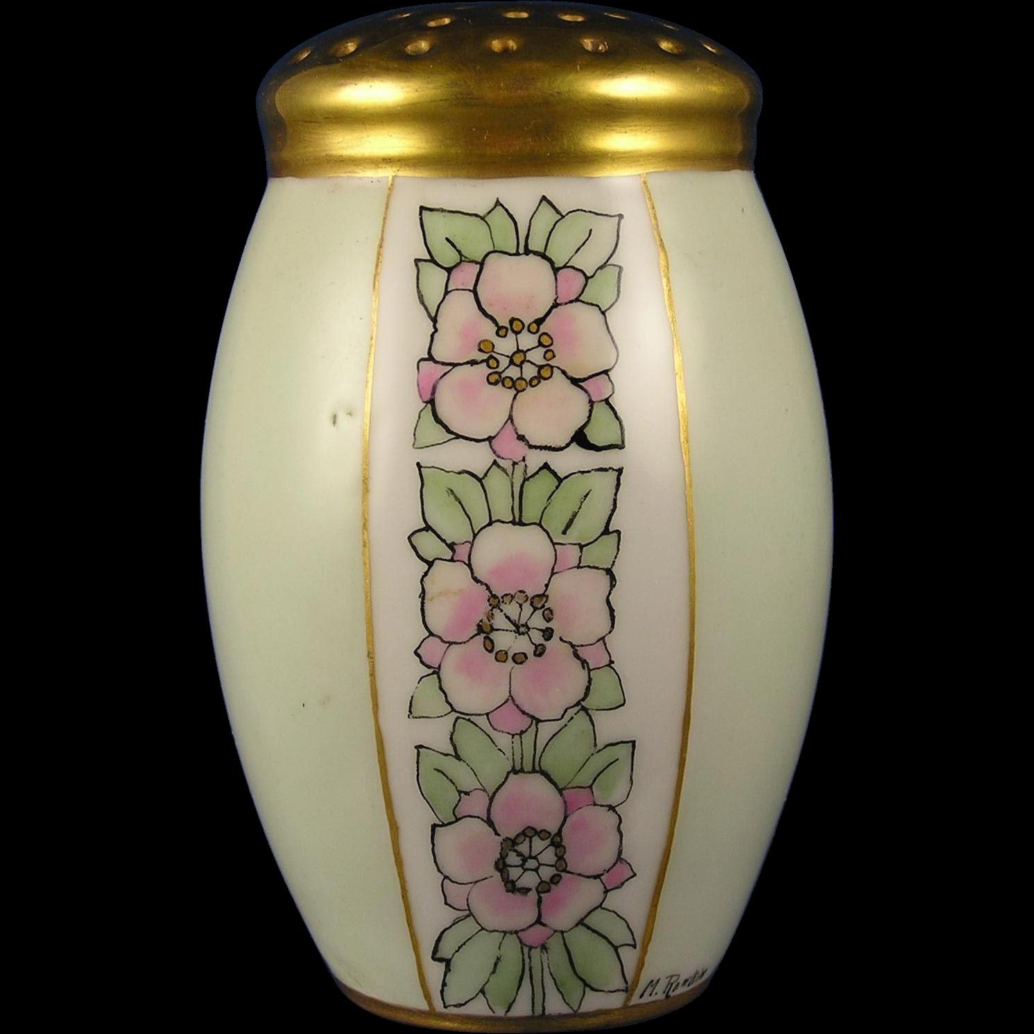 "Arts & Crafts Floral Motif Muffiner/Sugar Shaker (Signed ""M. Rankin""/c.1910-1930)"