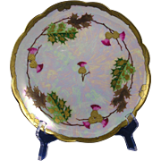 "Limoges ""Mark 6"" Pickard Studios ""Thistles in Paste"" Design Plate (Signed ""Fisher"" for Emil Fischer/c.1905-1910)"