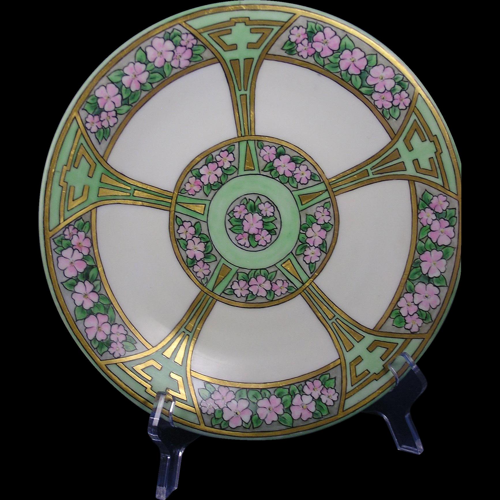 Bernardaud & Co. (B&Co.) Limoges Pink Floral & Art Deco Gold Motif Plate (c.1900-1914)