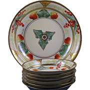 "Julius Brauer Studio Tressemann & Vogt (T&V) Limoges Strawberry & Currant Berry Bowl Set (Signed ""Chevallier""/c.1910-1916)"
