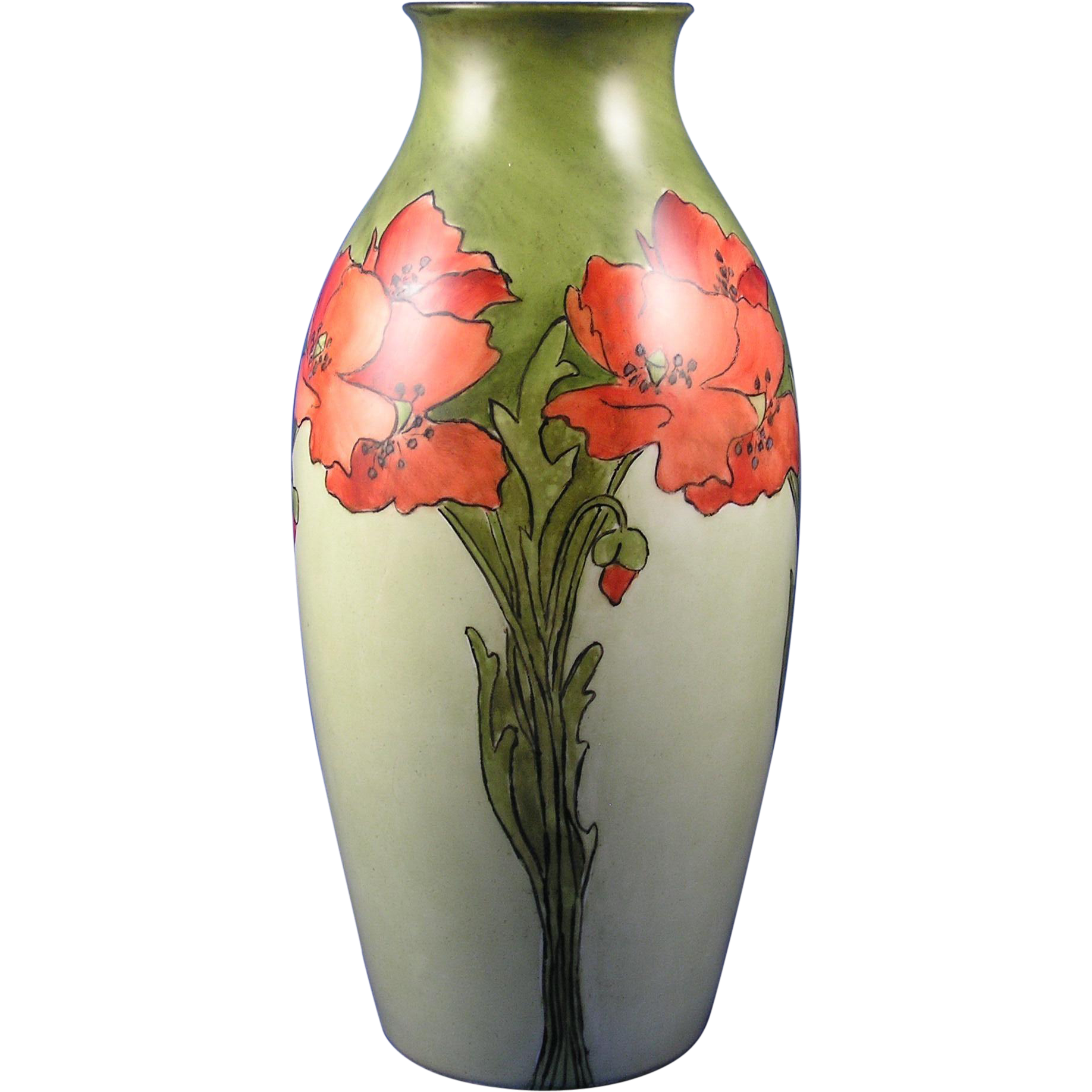 "Rosenthal Bavaria Arts & Crafts Poppy Motif Vase (Signed ""H.M.C.""/Dated 1906)"