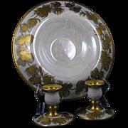 "Arts & Crafts Gold Pinecone & Lustre Design Centerpiece Bowl & Candlesticks Set (Signed ""E.C. Leonhard""/Dated 1929)"