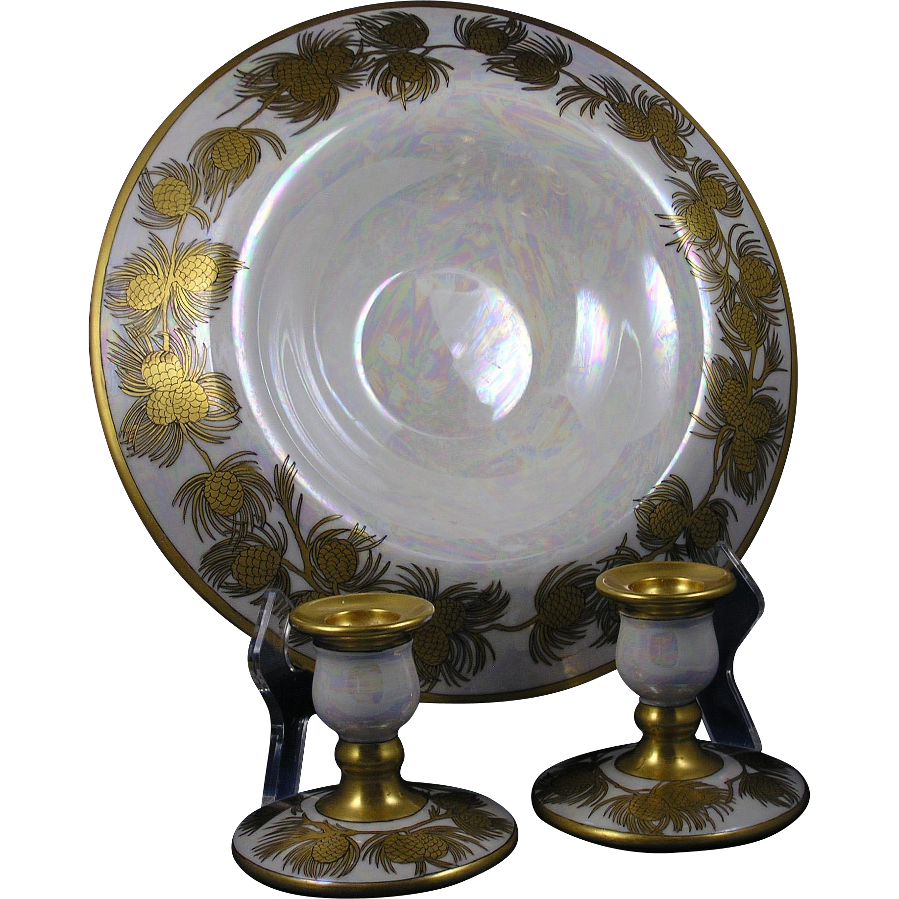 "Arts & Crafts Gold Pinecone & Lustre Design Centerpiece Bowl & Candlesticks Set (Signed ""E.C. Leonhard""/Dated 1929)"