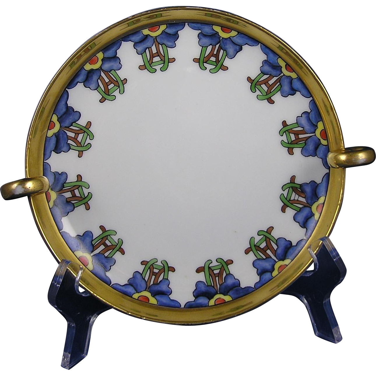 "Favorite Bavaria Arts & Crafts Floral Handled Dish/Plate (Signed ""Sharp""/c.1910-1930)"