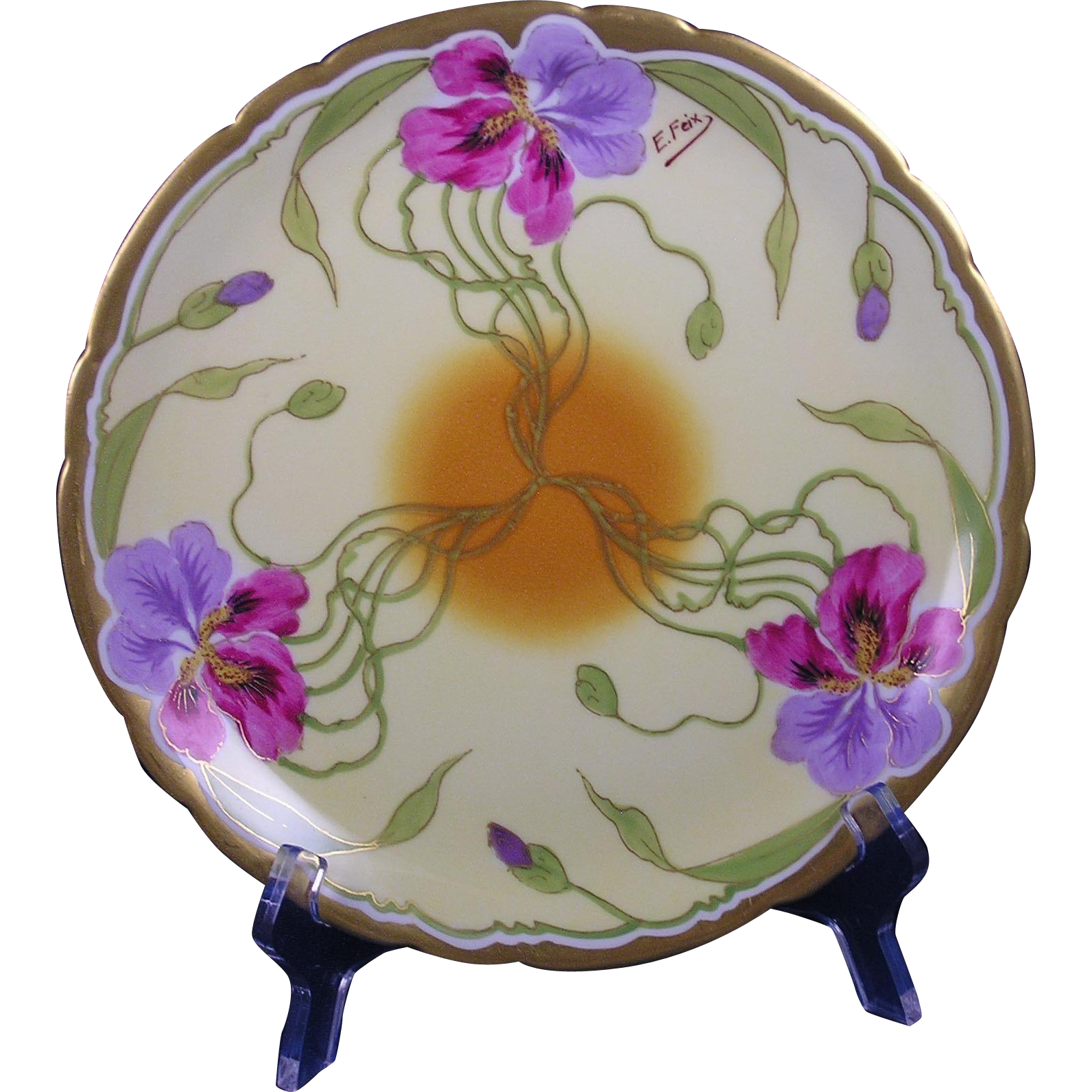 "Jean Pouyat (JP) Limoges Arts & Crafts Iris Design Plate (Signed by Stouffer Artist ""E. Feix""/c.1908-1911)"