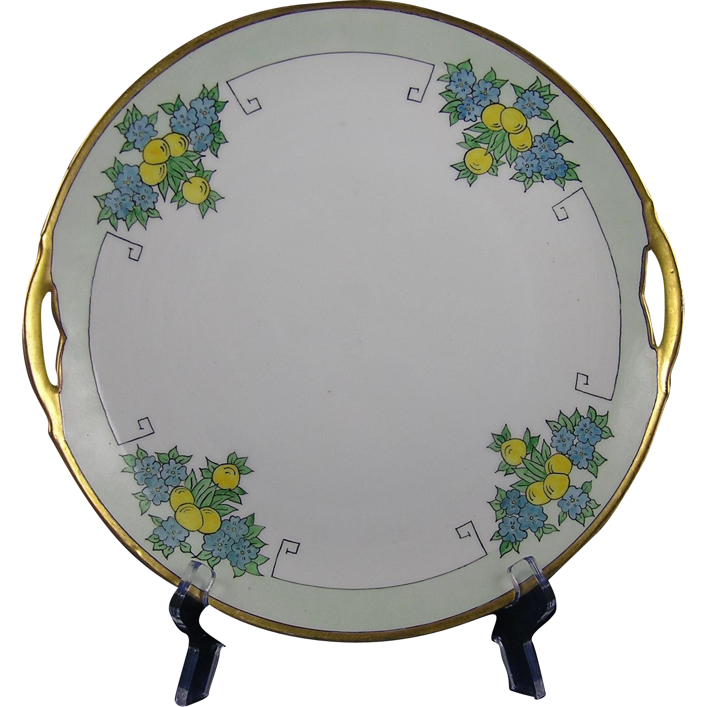 "Krister Porcelain Manufactory (KPM) Silesia Arts & Crafts Fruit Motif Handled Plate (Signed ""Irene Bozell, Tipton, Ind.""/c.1904-1927)"