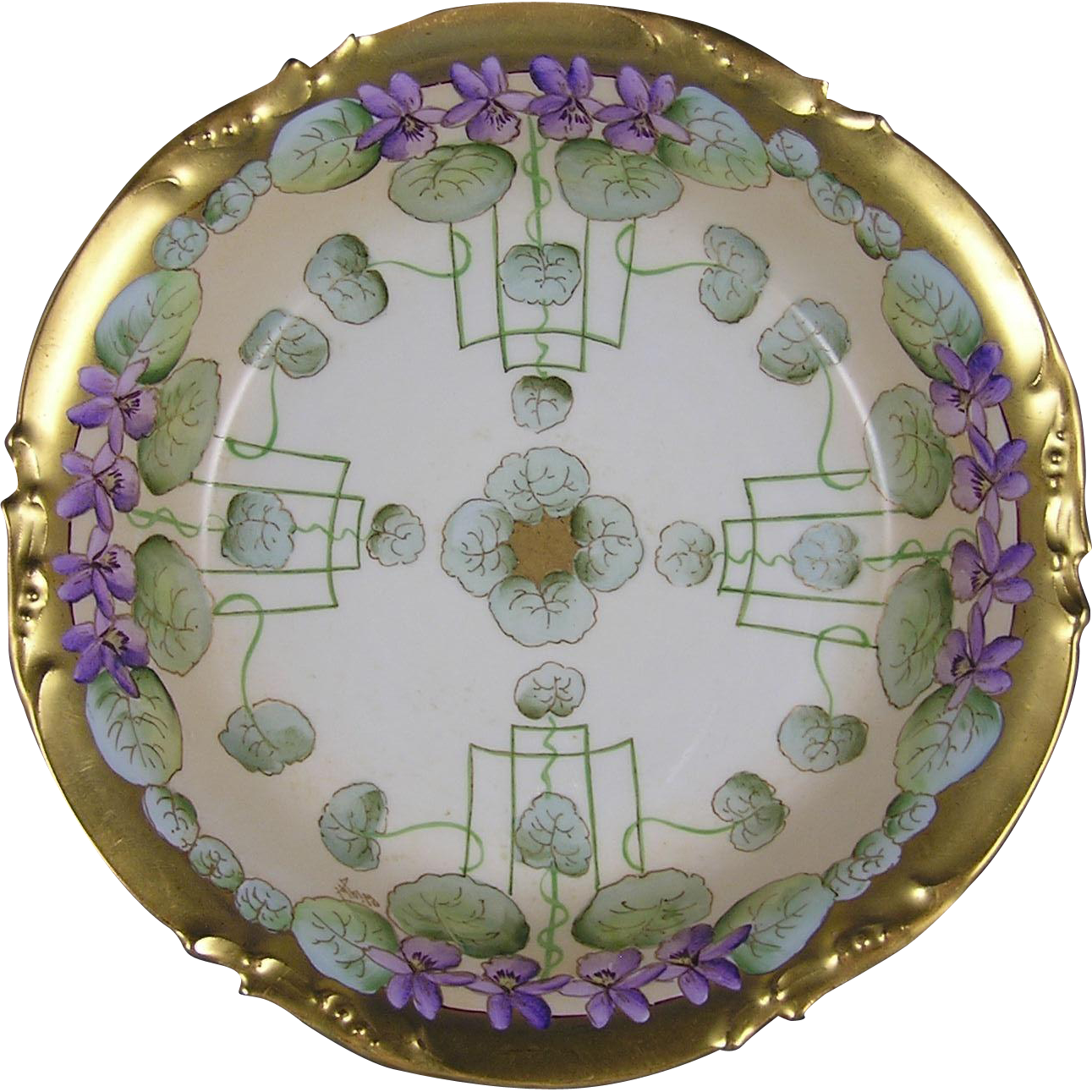 "Jean Pouyat (JP) Limoges Pickard Studios ""Violets in Panels"" Design Bowl (Signed ""Wight"" for Phillip Wight/c.1905-1910)"