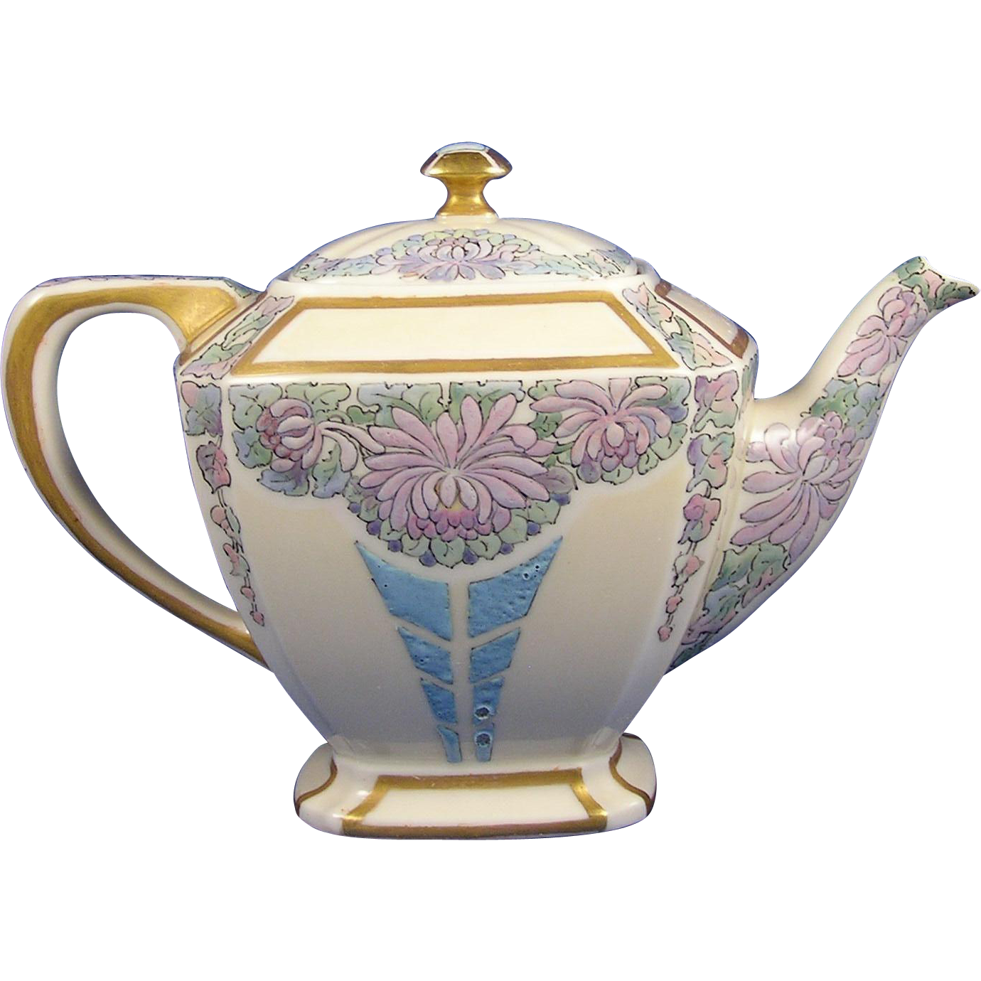 "Lenox Belleek Arts & Crafts Enameled Floral Design Teapot (Signed ""A.A. Spitz""/c.1906-1924)"