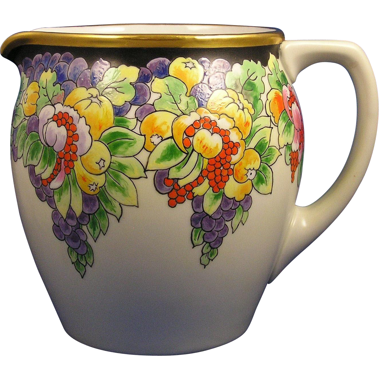 "Paul Muller Selb Bavaria Arts & Crafts Enameled Fruit Motif Pitcher (Signed ""E. Ingram""/c.1920-1928)"