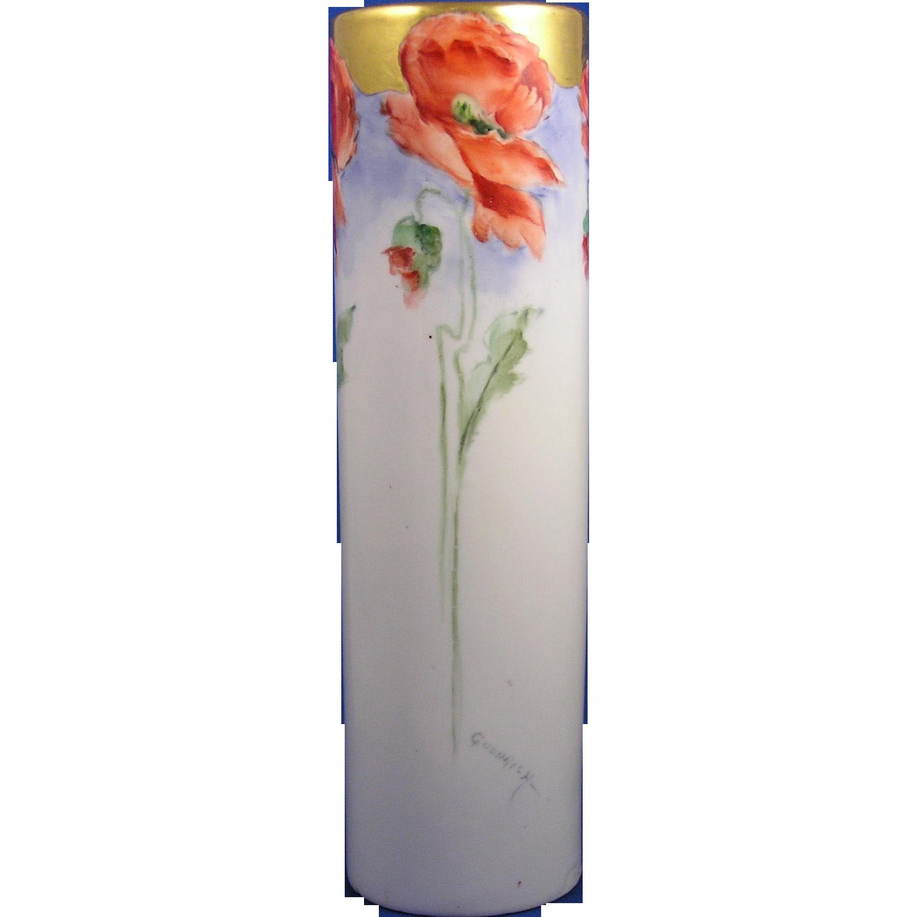 """Moritz Zdekauer (MZ) Austria Arts & Crafts Poppy Motif Vase (Signed """"Goodrich""""/c.1884-1909)"""