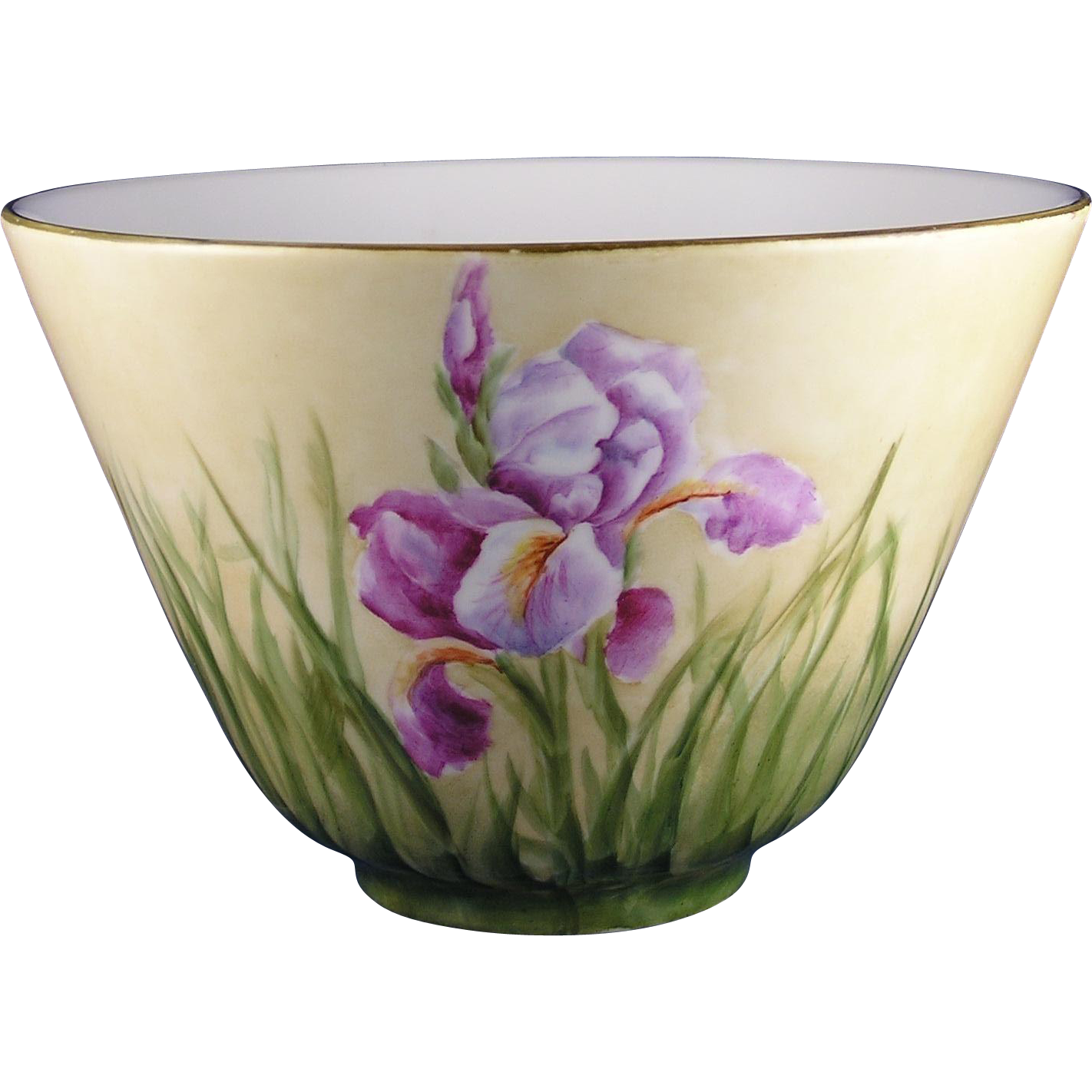 "Favorite Bavaria Arts & Crafts Iris Motif Bowl (Signed ""S.M.R.""/c.1920-1940)"