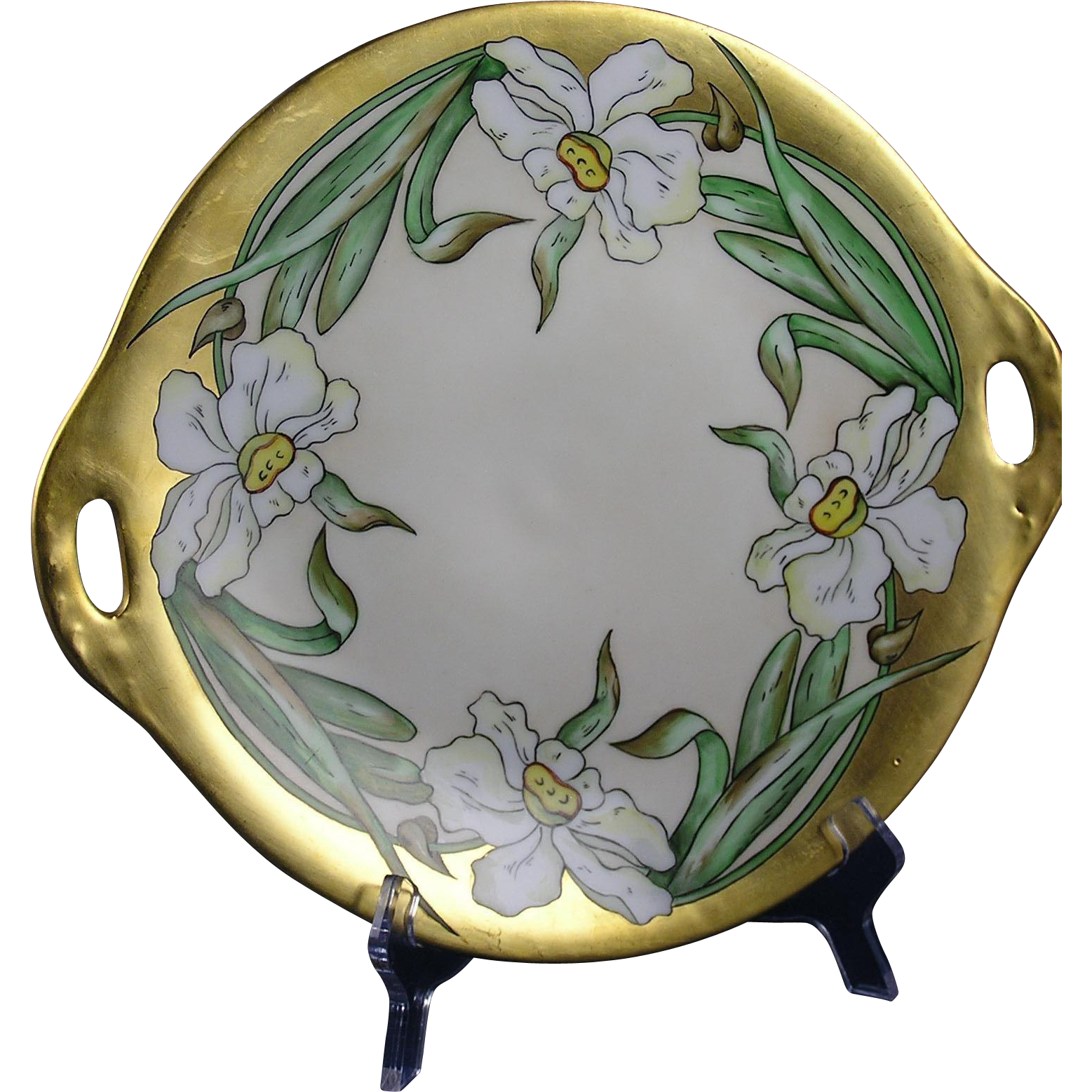 "Oscar & Edgar Gutherz (O&EG) Austria Arts & Crafts Jonquil Design Handled Plate (Signed ""O.H.""/c.1899-1918)"