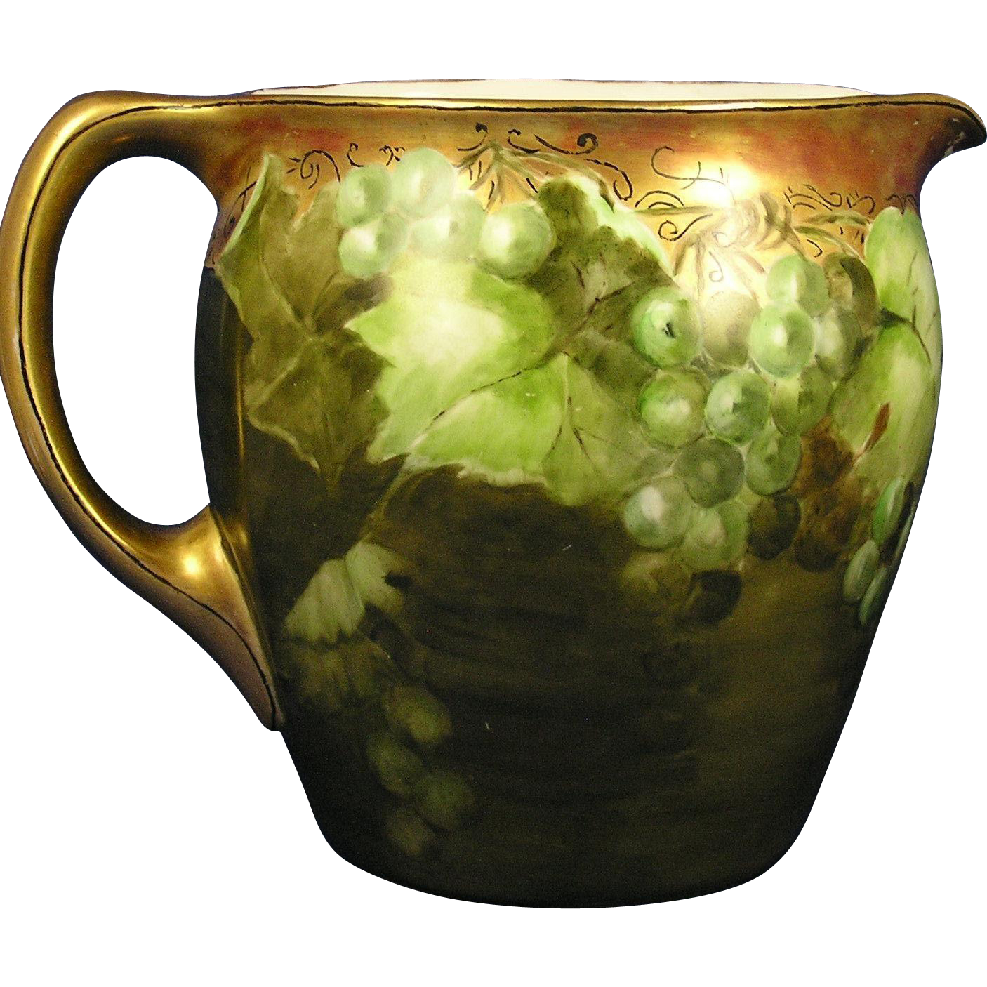 Jean Pouyat (JP) Limoges Green Grapes Motif Cider/Lemonade Pitcher (c.1890-1932)
