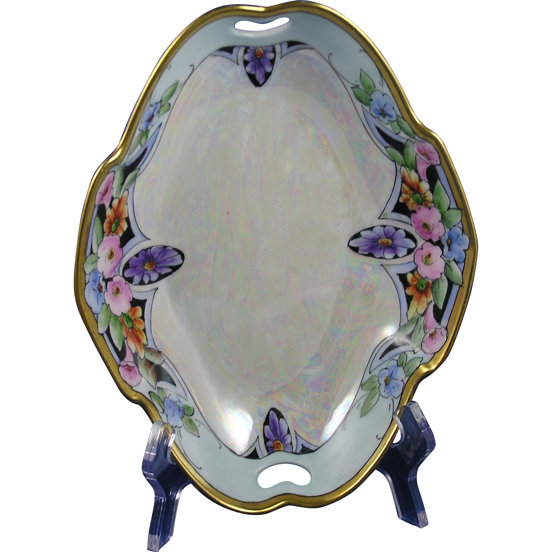 Bavarian Porcelain Blank Arts & Crafts Floral & Lustre Bowl (c.1910-1930)