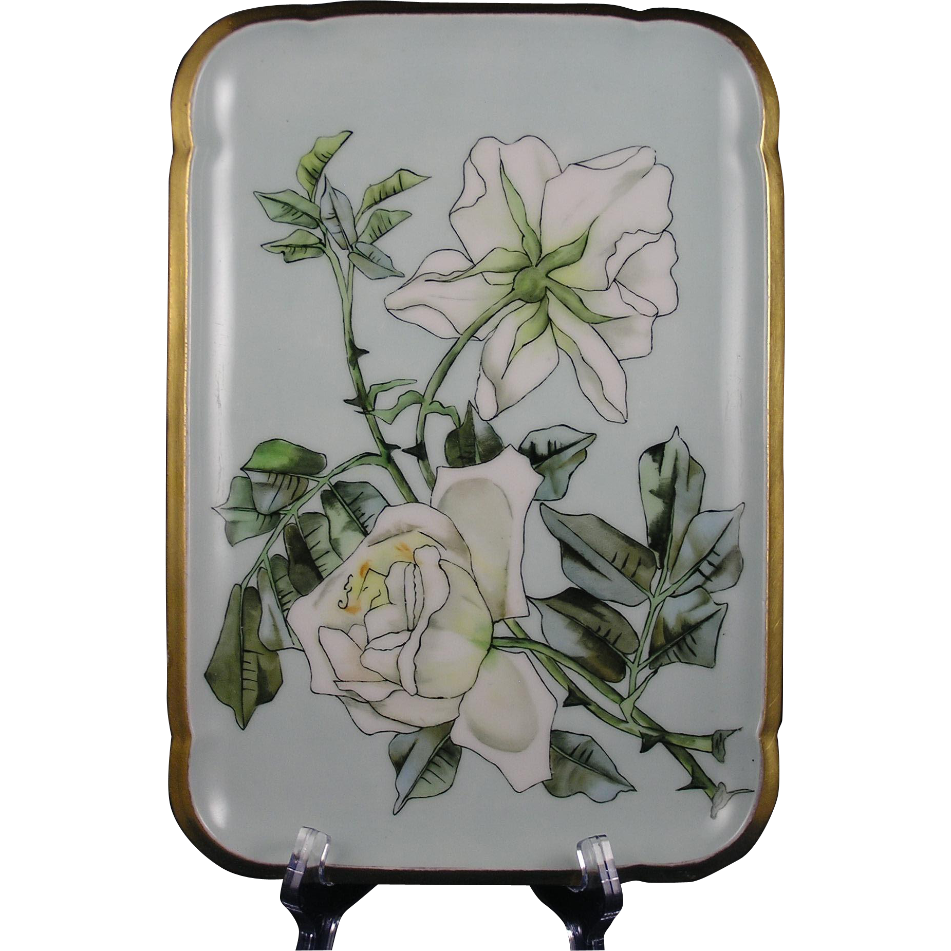 Gerard, Dufraisseix & Morel (CFH/GDM) Limoges White Rose Design Tray (c.1882-1890)