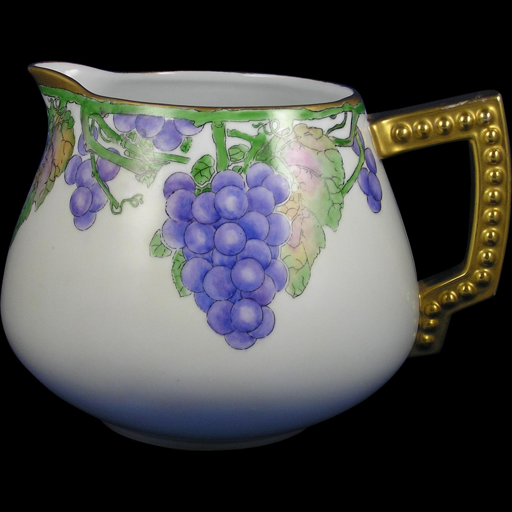 Bavaria Arts & Crafts Grapes Motif Cider/Lemonade Pitcher (Dated 1912)