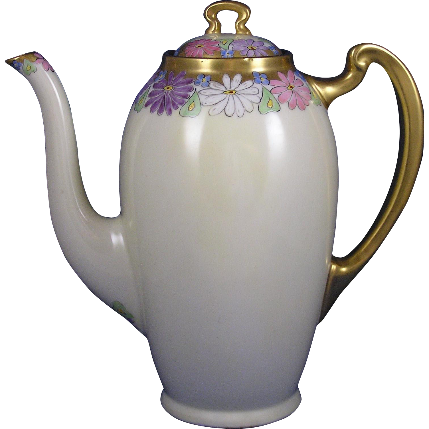 Lenox Belleek Arts & Crafts Enameled Floral Motif Coffee Pot (c.1906-1924)