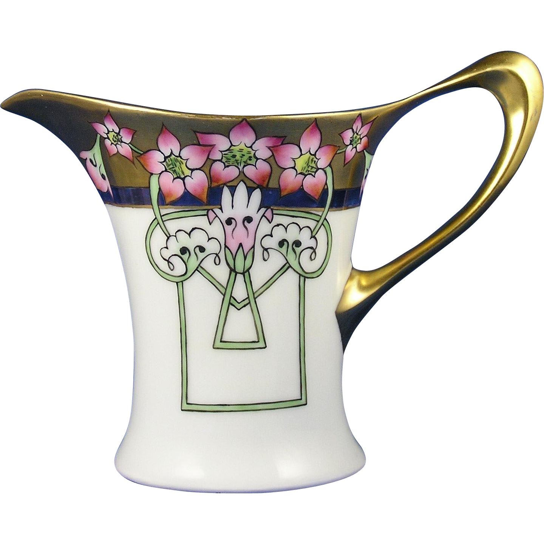 Hutschenreuther Favorite Bavaria Freesia Motif Pitcher (c.1910-1930)