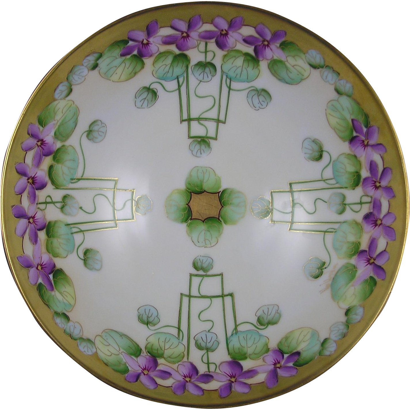 "Favorite Bavaria Pickard Studios ""Violets In Panel"" Design Bowl (Signed ""Wagner"" for Albert Wagner/c.1905-1910)"