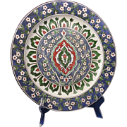 """Porcelain Blank Arts & Crafts Moorish Design Charger/Plate (Signed """"Elma Willers""""/Dated 1901)"""