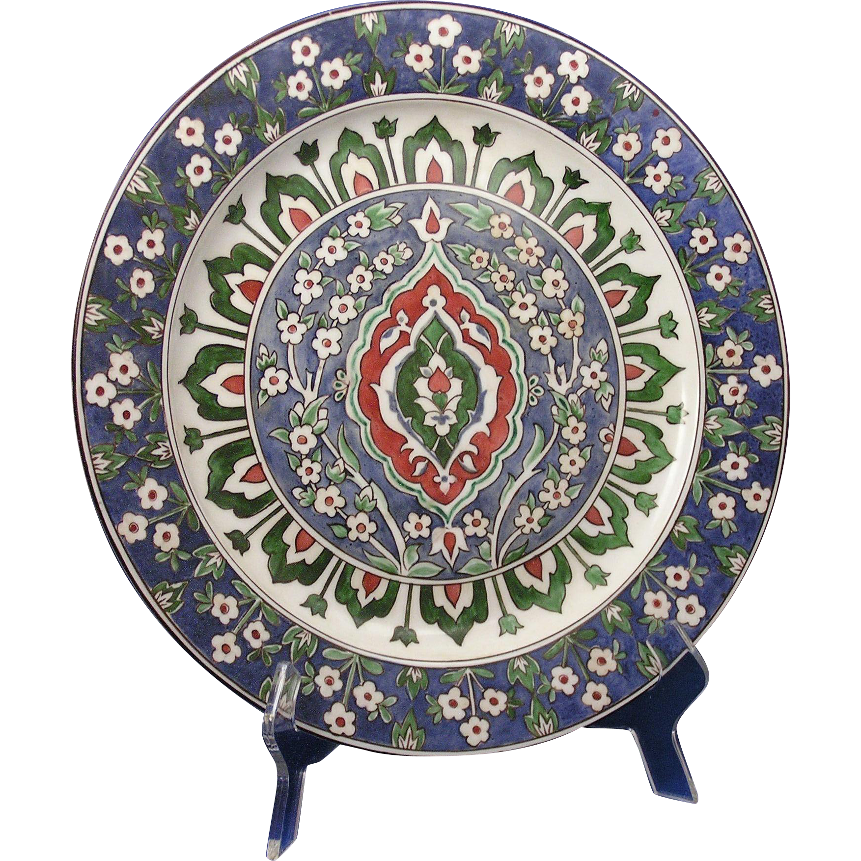 "Porcelain Blank Arts & Crafts Moorish Design Charger/Plate (Signed ""Elma Willers""/Dated 1901)"