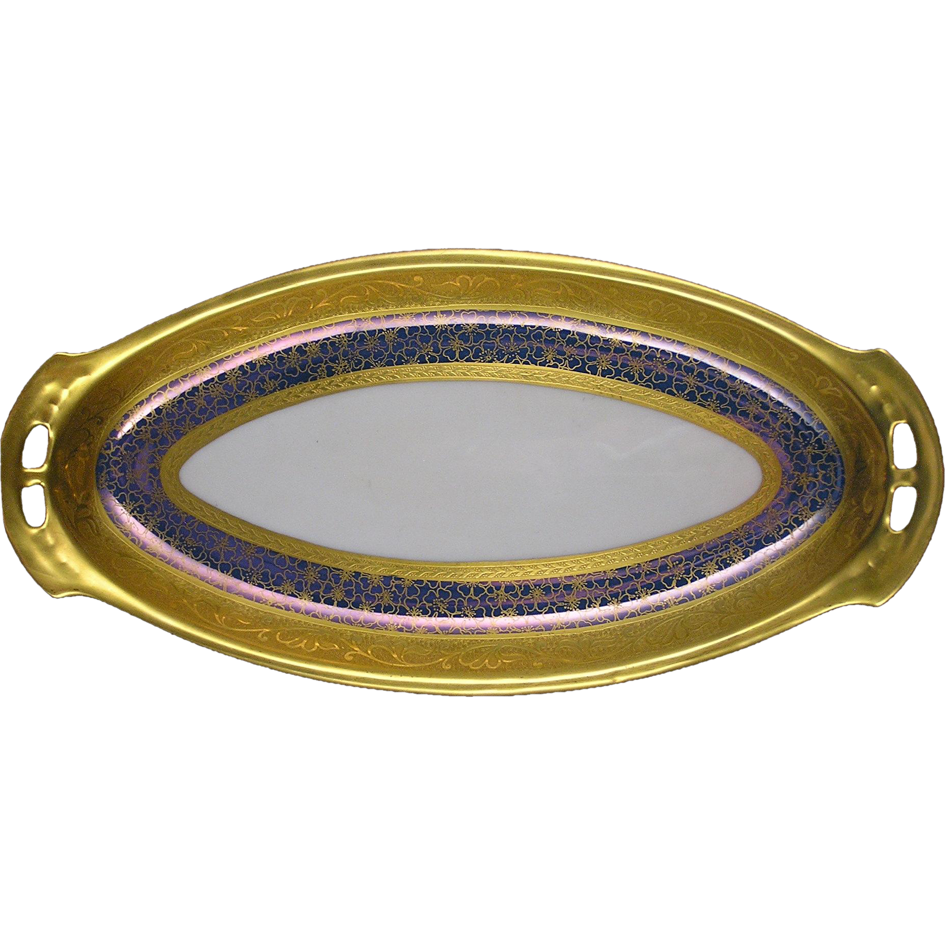 "RS Tillowitz Silesia Pickard Studios ""Tracery & Blue Lustre"" Design Handled Tray (c.1919-1922)"