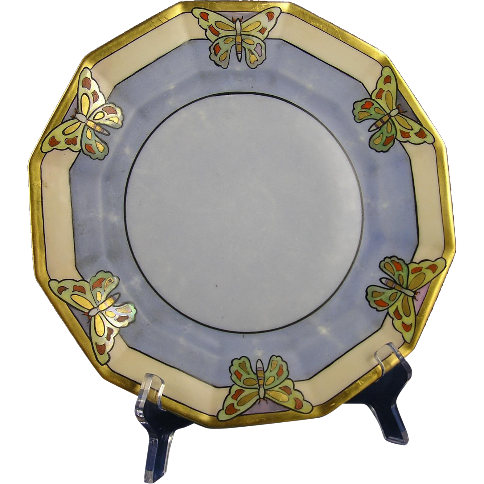 "Coiffe Limoges Arts & Crafts Butterfly Motif Plate (Signed ""J.A.B.""/c.1891-1914)"
