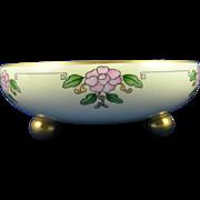 Tressemann & Vogt (T&V) Limoges Arts & Crafts Pink Floral Motif Footed Centerpiece Bowl (c.1892-1907)