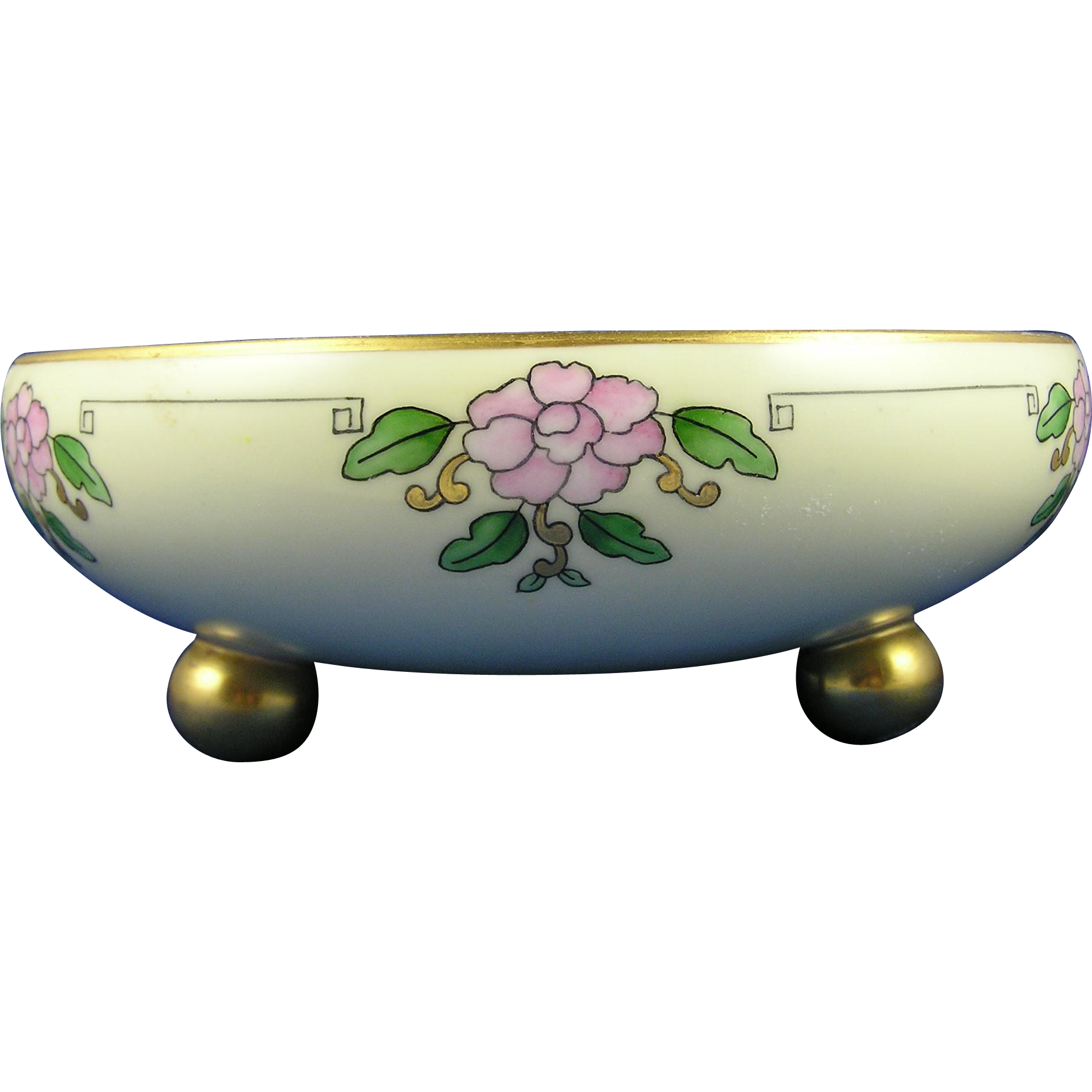 Tressemann & Vogt (T&V) Limoges Arts & Crafts Pink Floral Motif Footed Centerpiece Bowl (c.1892-1907)