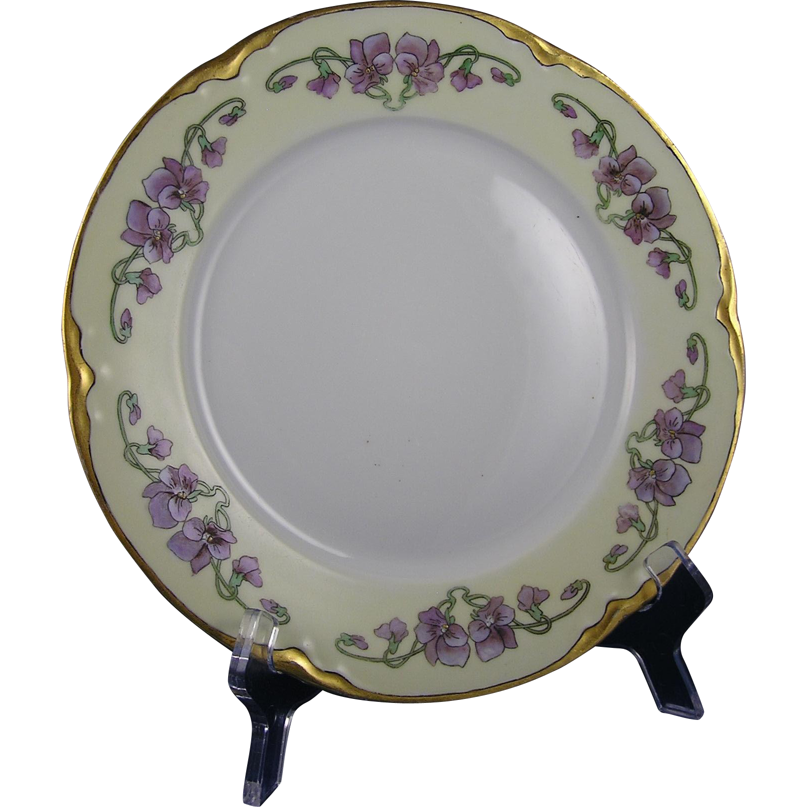 "Hutschenreuther Selb Bavaria Violet Design Plate (Signed ""May Parker""/Dated 1917)"